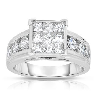 Eloquence 14k White Gold 1 3/4ct TDW Princess-cut Composite Diamond Ring (H-I, I1-I2)