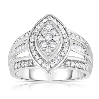 Eloquence 14k White Gold 1/2ct TDW Multistone Head Diamond Ring (H-I, I2-I3)