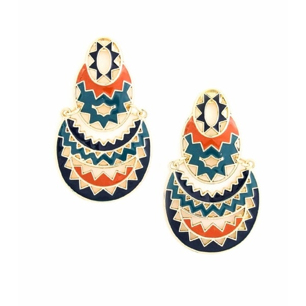 Pretty Little Style Goldtone Aztec Print Dangle Earrings