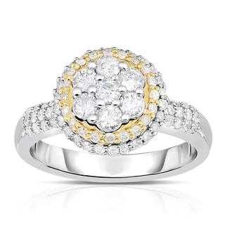 Eloquence 14k Two-tone Gold 1ct TDW Composite Halo Diamond Ring (H-I, I1-I2)