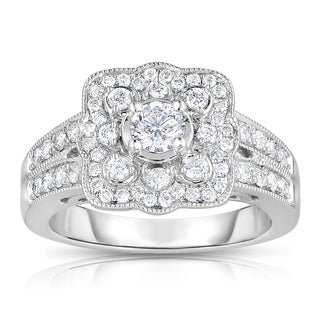 Eloquence 14k White Gold 1ct TDW Floral Diamond Ring (H-I, I1-I2)