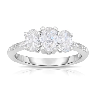 Eloquence 18k White Gold 1ct TDW 3-stone Oval-cut Diamond Ring (H-I, SI1-SI2)