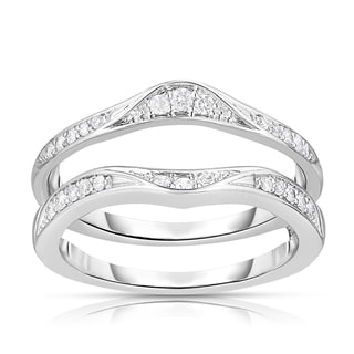 Eloquence 14k White Gold 1/4ct TDW Curved Diamond Ring Jacket (H-I, I2-I3)