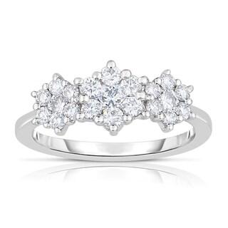 Eloquence 14k White Gold 1ct TDW Triple Flower Diamond Ring (H-I, SI1-SI2)