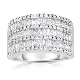 Eloquence 14k White Gold 2ct TDW One-Of-A-Kind Cluster Diamond Band (H-I, I1-I2)