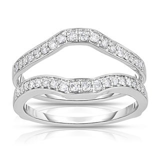 Eloquence 14k White Gold 3/8ct TDW Curved Diamond Ring Jacket (H-I, I2-I3)