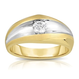 Eloquence Men's 10k Gold 1/2ct TDW Two-toned Solitaire Matte and High Polished Diamond Ring (L-M, SI1-SI2)