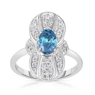 Eloquence 14k White Gold 9/10ct TDW Blue Oval Cut Vintage Diamond Ring (Blue, I1-I2)