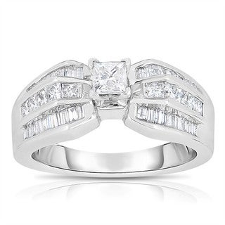 Eloquence 14k White Gold 1ct TDW One-Of-A-Kind Princess Cut Solitaire Diamond Engagement Ring (H-I, I1-I2)