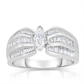 Eloquence 18k White Gold 1ct TDW Marquise-cut Solitaire Diamond Engagement Ring (H-I, I1-I2)