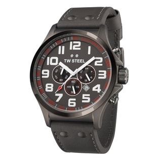 TW Steel Men's 'Pilot' Black PVD Coated Stainless Steel Chronograph and Tachymeter TW423 Watch