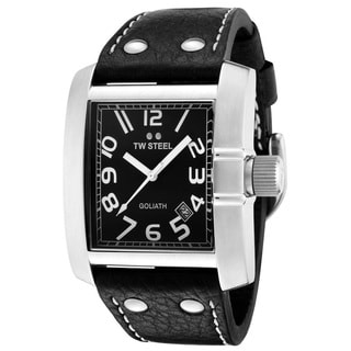 TW Steel Men's 'Goliath' Stainless Steel and Black Leather TW19 Watch