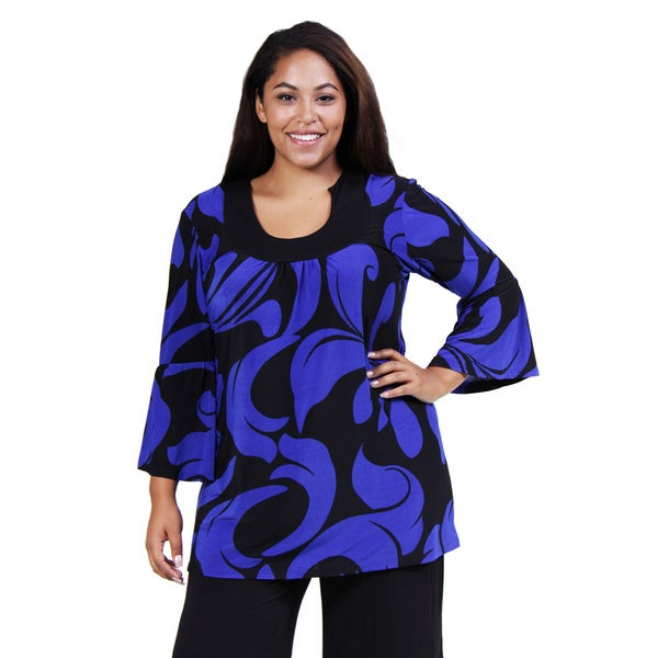 24/7 Comfort Apparel Women's Plus Size Black/ Blue Swirling Tunic