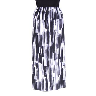 24/7 Comfort Apparel Women's Plus Size Brush Stroke Printed Maxi Skirt