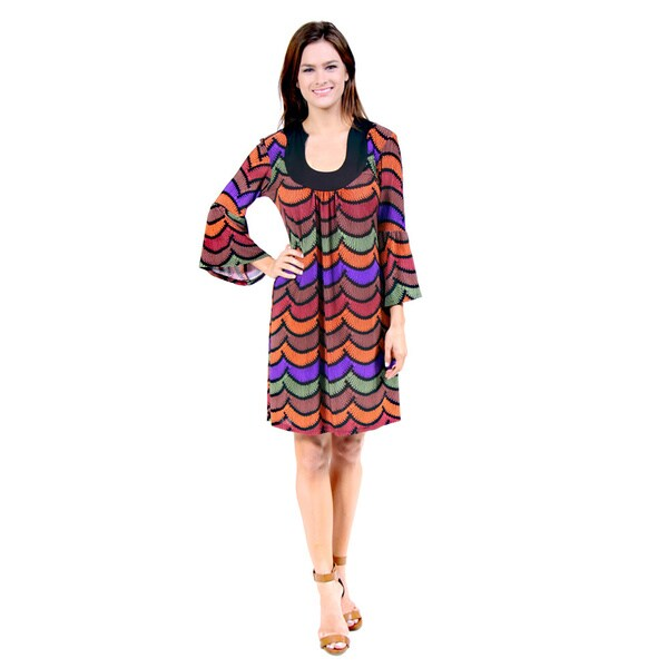 24/7 Comfort Apparel Women's Abstract Striped Flare-sleeve Dress