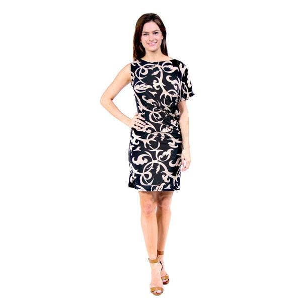 24/7 Comfort Apparel Women's Cream and Black Printed One Shoulder Dress