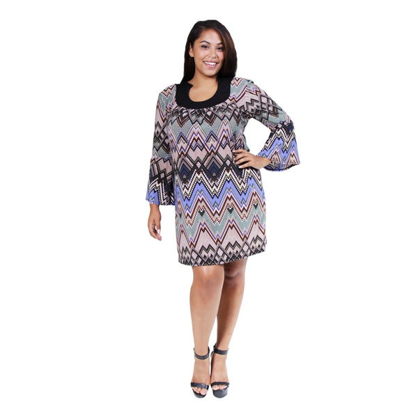 24/7 Comfort Apparel Women's Plus Size Mosaic Chevron Stripe Dress