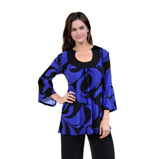 24/7 Comfort Apparel Women's Swirl Print Purple Tunic