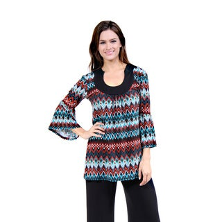24/7 Comfort Apparel Women's Earthy Blue/ Brown Chevron Tunic