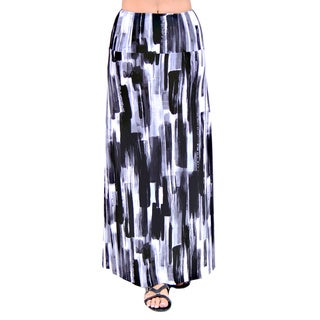 24/7 Comfort Apparel Women's Brush Stroke Printed Maxi Skirt