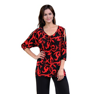 24/7 Comfort Apparel Women's Abstract Red/ Black Tunic