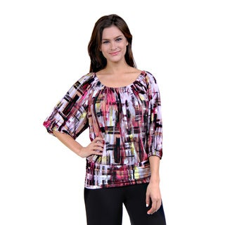 24/7 Comfort Apparel Women's Abstract Mosaic Pink Blouse