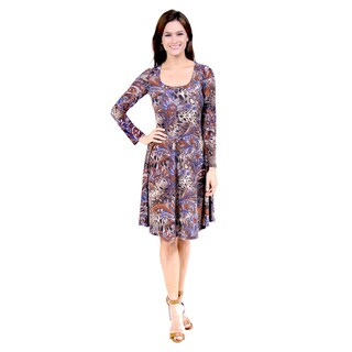 24/7 Comfort Apparel Women's Animal Paisley Print Dress