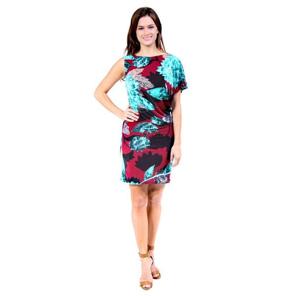 24/7 Comfort Apparel Women's Red and Aqua Floral Print One-Shoulder Dress