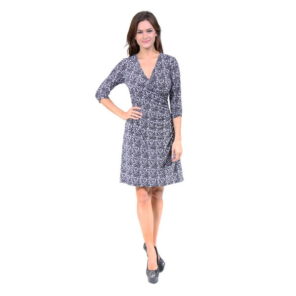 24/7 Comfort Apparel Women's Black and White Abstract Print Wrap Dress