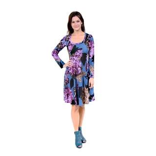 24/7 Comfort Apparel Women's Purple Floral Print Dress