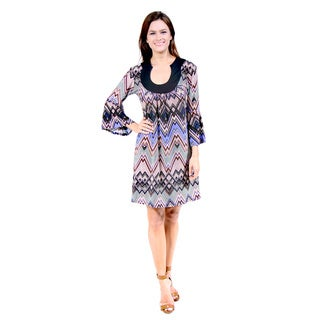24/7 Comfort Apparel Women's Mosaic Chevron Stripe Dress
