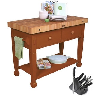 John Boos Cherry Stain Jasmine Butcher Block 48 x 24 Table and Henckels 13-piece Knife Block Set