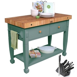 John Boos Basil Jasmine Butcher Block Table with Bonus 13-piece Henckels Knife Set