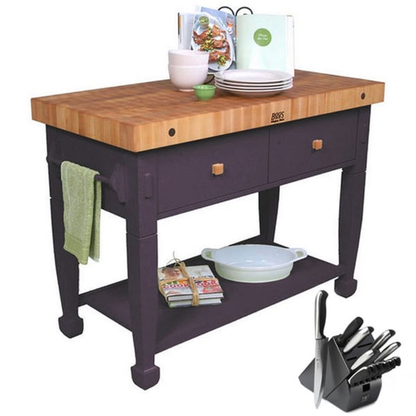 John Boos Eggplant Jasmine Butcher Block Table with Bonus 13-piece Henckels Knife Set