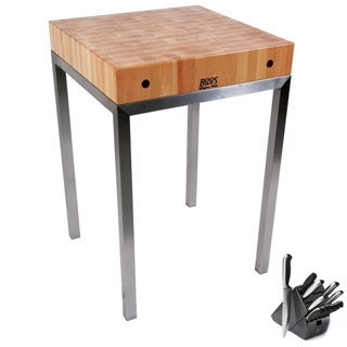 John Boo Metropolitan Station Square Kitchen Island Table with Bonus Henckels Knife Set
