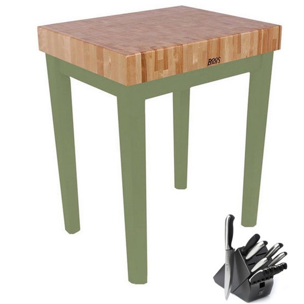 John Boos 36-inch Basil Green Cutting Board Table with Henckels 13-piece Knife Set