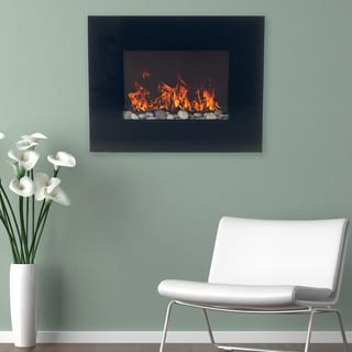 Northwest Black Glass Panel Wall Mounted Electric Fireplace with Remote