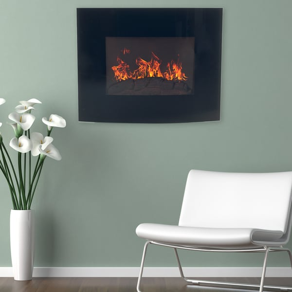 Northwest Black Curved Glass Panel Wall Mounted Electric Fireplace with Remote
