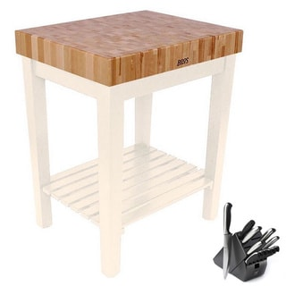 John Boos Alabaster Shelf 30 x 24 Cutting Board Table and Henckels 13-piece Knife Block Set
