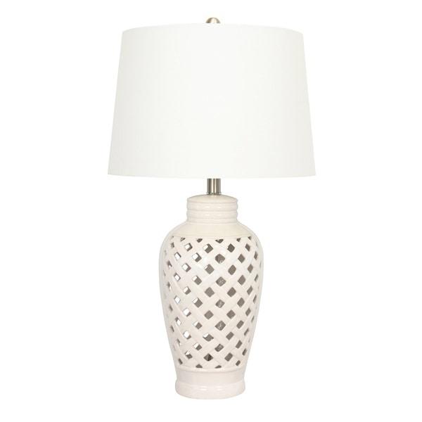 1 Light White Lattice Design Ceramic Table Lamp 16791376 Overstock Com Shopping Great