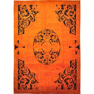 Savonnerie Orange Cast Overdyed European Hand-knotted Rug (9' x 12')