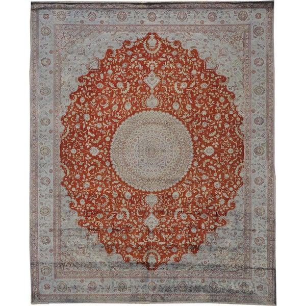 Silken Tabriz 250 Kpsi Hand-knotted Rust Red Oriental Area Rug (8' x 10')
