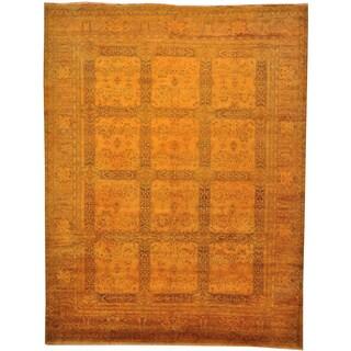 Overdyed Tabriz Garden Design 300 Kpsi Hand-knotted Oriental Area Rug (9' x 11')