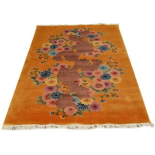 Orange 100-percent Wool Chinese Art Deco Recreation Hand-knotted Area Rug (4' x 6')