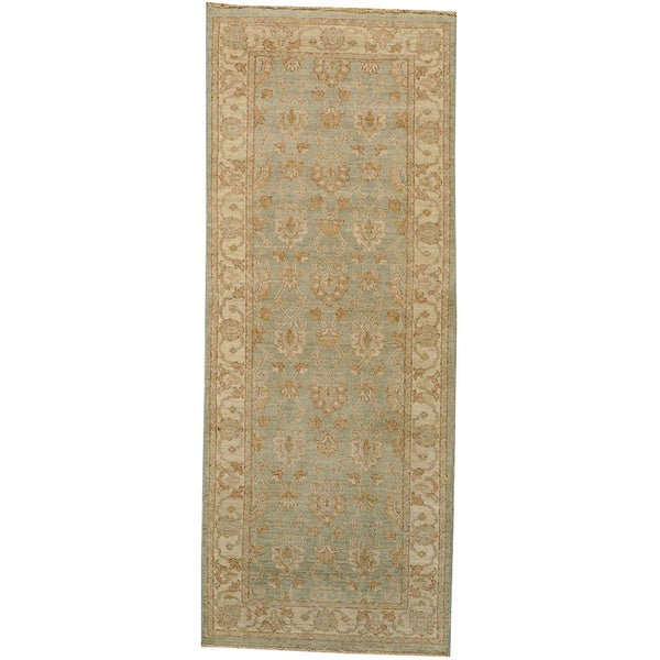 Peshawar Oriental Runner Light Green Hand-knotted Silver Wash Area Rug (3' x 7')