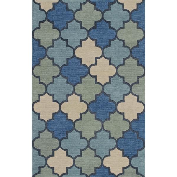 Atmosphere Blue Coastal Wool Rug (9' x 13')