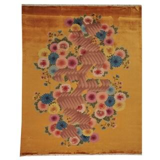 Hand-knotted Orange Chinese Art Decro Wool Rug (8' x 10')