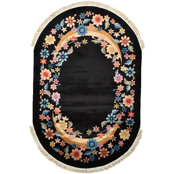Art Deco Black Oval Chinese Floral Design Area Rug (6' x 9')