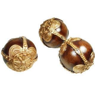 D'Lusso Designs Brown/ Gold 3-piece Orb Set