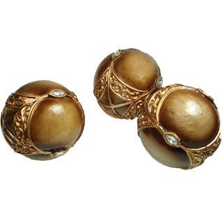 D'Lusso Designs Gold Jeweled Decorative Orbs (Set of 3)